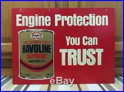 Vintage Texaco Motor Oil Sign Havoline Quart Can Double Sided Gas Pump Garage
