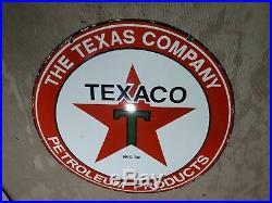 Vintage Texaco Petroleum Products Porcelain Gas Pump Sign 36 Round