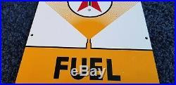 Vintage Texaco Porcelain 1962 Motor Oil Gas Fuel Chief Service Station Pump Sign