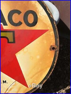Vintage Texaco Porcelain Gas Pump Sign