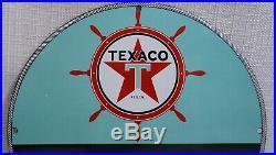 Vintage Texaco Porcelain Gasoline Oil Sign Gas Station Pump Marine Dated Rare