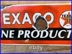 Vintage Texaco Porcelain Sign Marine Products Boat Dock Gas Pump Motor Oil 17