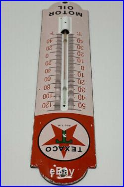 Vintage Texaco Porcelain Thermometer Steel Gas Oil Garage Pump Plate Sign