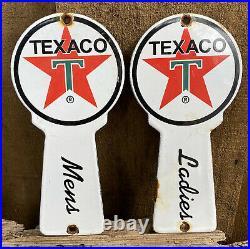Vintage Texaco Restroom Key Plate Porcelain Sign Room Gas Pump Petroliana Oil Us