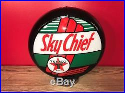 Vintage Texaco Sky Chief Gasoline Globe Advertising Station Sign Gas Pump 17