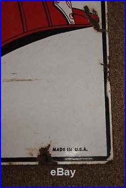 Vtg 1940 Texaco Fire Chief Gasoline Gas Pump Plate 12X18 Porcelain Metal Sign