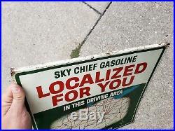Vtg Double Sided Texaco Localized Gas Pump Sign Area #6 Indiana Kentucky Ohio