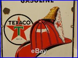 Vtg TEXACO Fire-Chief Porcelain Gas Pump SignMeasures 18 X 12Circa 3/1945