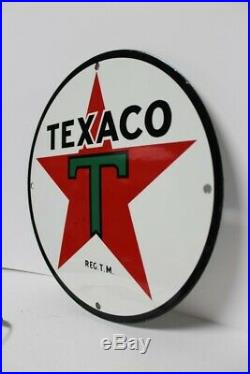 Vtg Texaco Motor Oil Service Gas Porcelain Sign Lubester Pump Plate 11 3/4