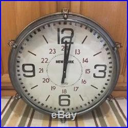 Wall Clock New York Boat Porthole Industrial Man Cave Decor Vintage Style Garage